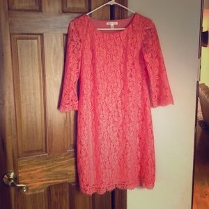 Long sleeved coral lace dress